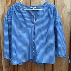 Madewell Stripped Blue Long Sleeved Top NWT